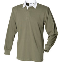 Mens Long Sleeve Original Rugby 100% Cotton Collar Neck Shirt