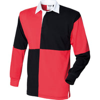 Mens Front Row Co Quartered Rugby 100% Cotton Long Sleeve Collar Polo Neck Shirt