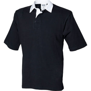 Mens Front Row Co Quartered Rugby 100% Cotton Short Sleeve Polo Neck Shirt