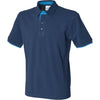 Mens Front Row Co Contrast Pique Polo 100% Cotton Short Sleeve Collar Shirt