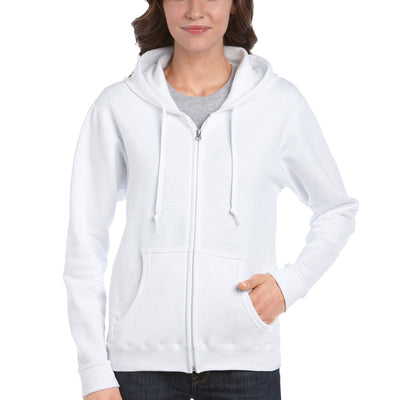 Ladies Women Gildan Heavy Blend Full Zip Hoodie Hooded Sweatshirt Top