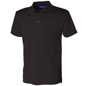 Mens Henbury Cooltouch®  Textured Stripe Knit Golf Polo Neck Collar T Shirt Top