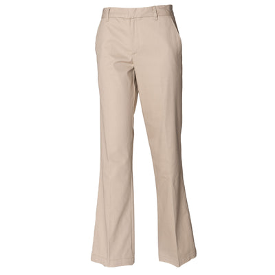 Ladies Women Coated 100% Cotton Flat Front Trouser Bottom Pant
