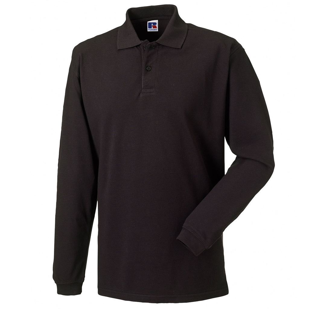Mens Russell Long Sleeve Classic 100% Cotton Polo Neck Collar Shirt Top