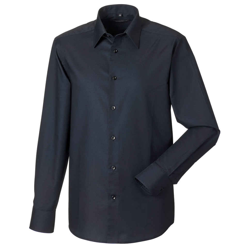 Mens Russell Collection Long Sleeve Easycare Tailored Oxford Cotton Rich Shirt