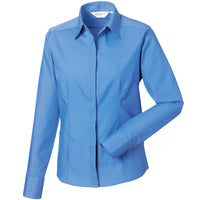Ladies Women Russell Collection Long Sleeve Easycare Fitted Poplin Shirt
