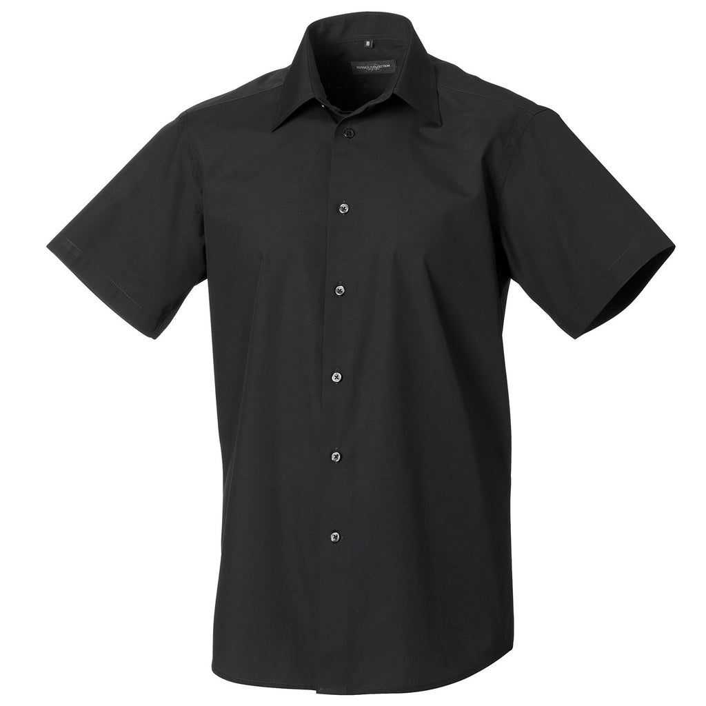 Mens Russell Collction Short Sleeve Polycotton Easycare Tailored Poplin Shirt
