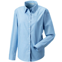 Ladies Women Russell Collection Long Sleeve Cotton Rich Oxford Shirt (S to 6XL)