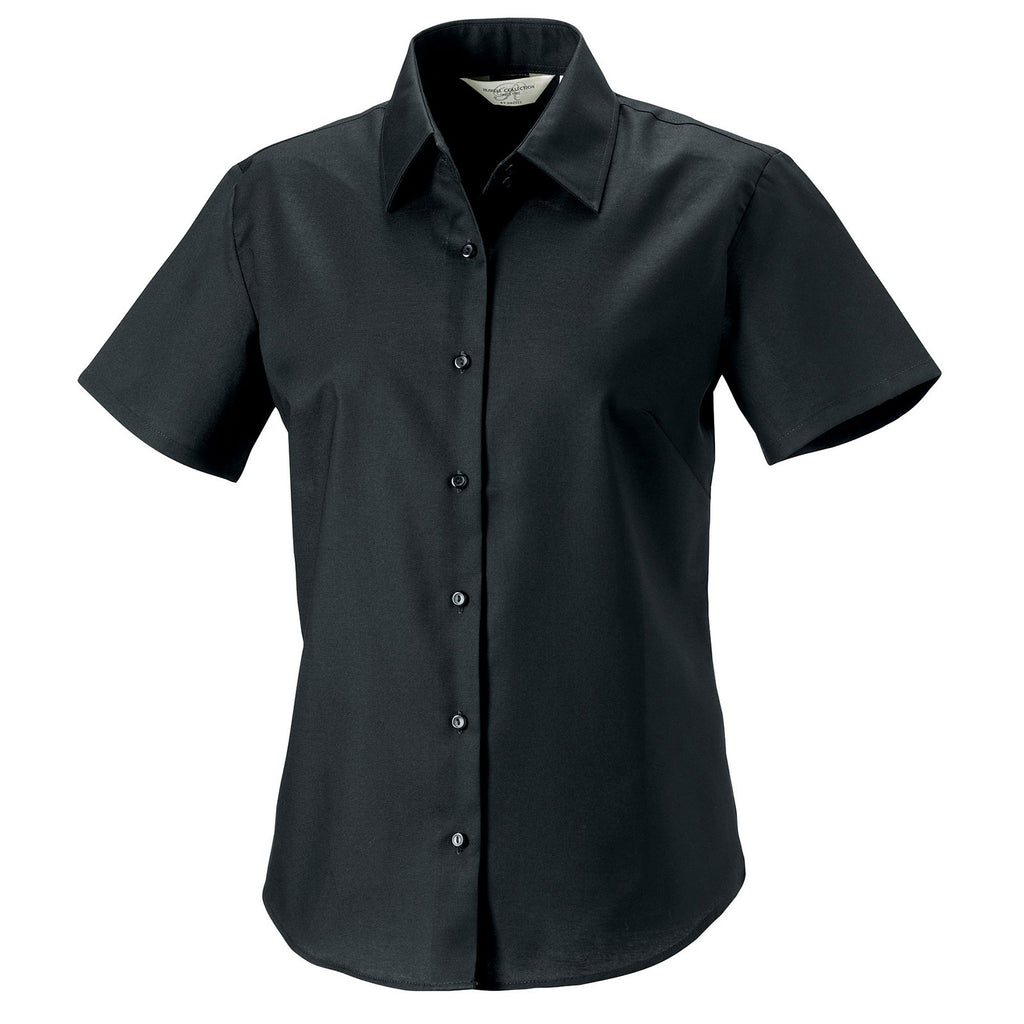 Ladies Women Russell Collection Short Sleeve Cotton Rich Oxford Shirt (S to 6XL)