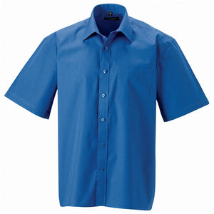 Mens Russell Collection Short Sleeve 100% Cotton Easycare Poplin Smart Shirt