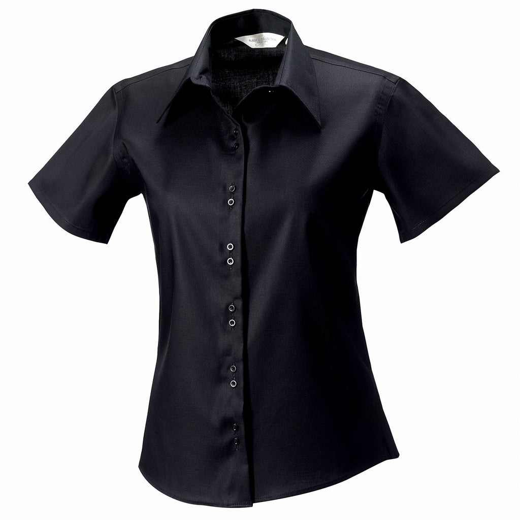 Ladies Women Russell Collection Short Sleeve Ultimate Non-Iron 100% Cotton Shirt