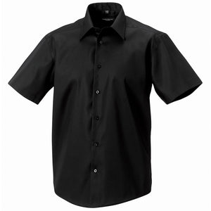 Mens Russell Collection Short Sleeve Tailored Non Iron 100% Cotton Shirt