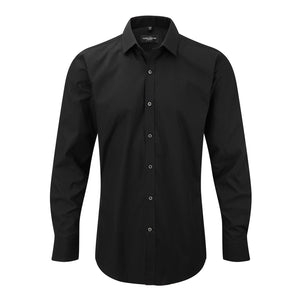Mens Russell Collection Long Sleeve Ultimate Cotton Rich Stretch Fitted Shirt