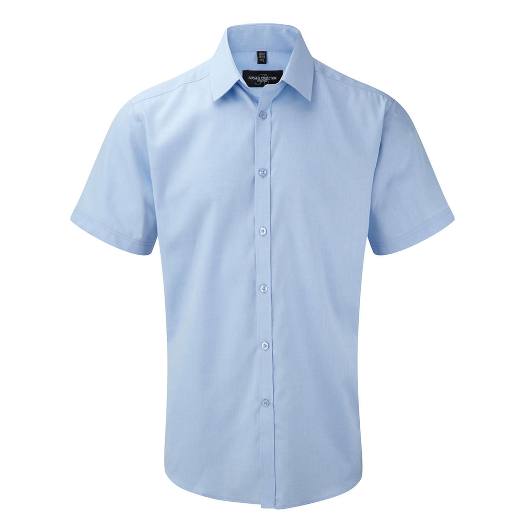 Mens Russell Collection Short Sleeve Herringbone Cotton Rich Tailored Fit Shirt