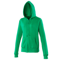 Ladies Women Cuffed Plain Cotton Rich Zip Up Hoody Hooded Top Zoodie