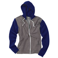 Mens Retro Zoodie Cotton Rich Zip Up Hoodie Hooded Top Contrast Raglan Sleeve