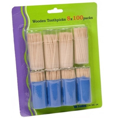 800 x Wooden Wood Tooth Pick Cocktail Stick in Case