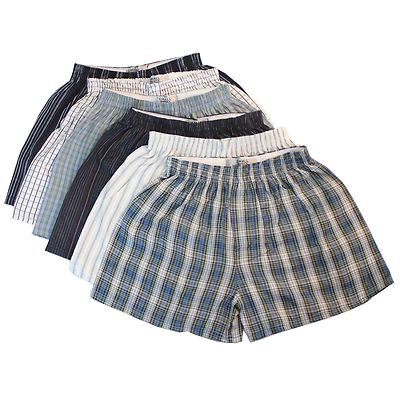 12 x Woven Classic Cotton Blend Loose Boxer Shorts with Elastic Waist Band