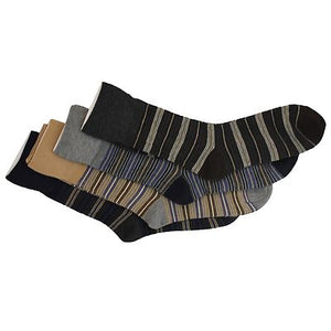 6 x Mens Stripe Design Non Elastic Loose Top Gentle Grip Diabetic Socks
