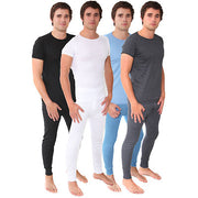 Mens Thermal Winter Warm Underwear Set Long John Bottom and Short Sleeve Top