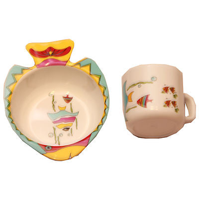 Kids Baby Toddler Friendly Melamie Plastic Bowl Dish and Cup Mug Dinner Set