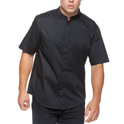 Mens Bar Waiter Oriental Mandarin Collar Restaurant Uniform Short Sleeve Shirt