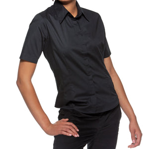 Ladies Women Club Cotton Rich Bar Pub Uniform Short Sleeve Shirt Blouse