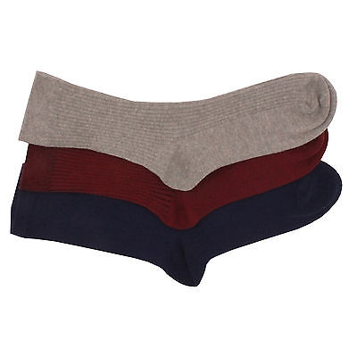 6 x Ladies Women BRITWEAR Ribbed Grey Maroon Blue Ankle High Cotton Rich Socks