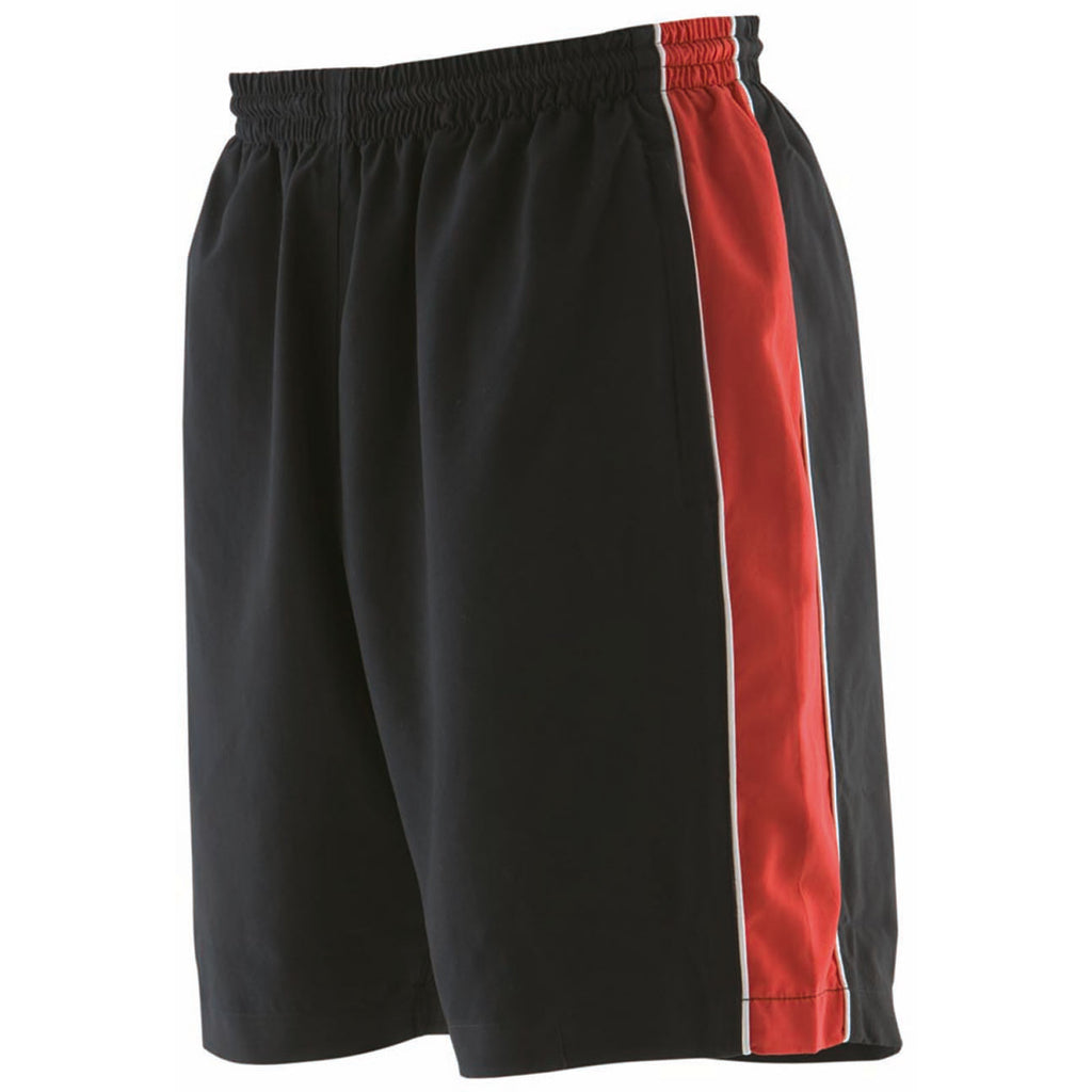 Mens Finden Hales Piped Sport Gym Microfibre Mesh Lined Shorts