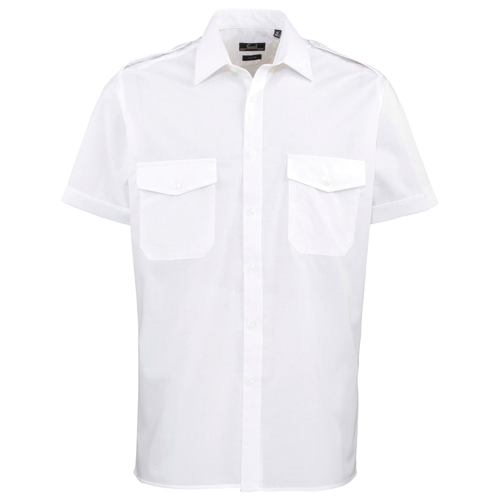 Mens Premier Short Sleeve Easy Care Plain Airline Pilot Uniform Flight Shirt