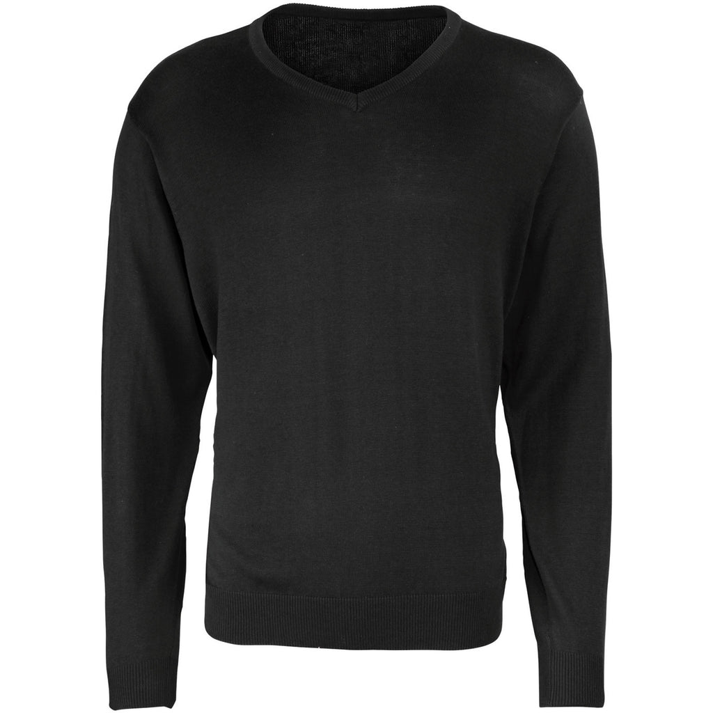 Mens Premier Cotton Rich V Neck Knitted Fine Knit Long Sleeve Sweater Top