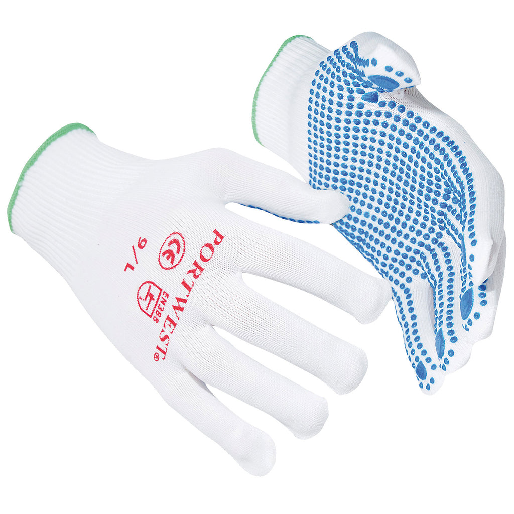 Mens Portwest Nylon Grip Gripper Dot Work Gloves