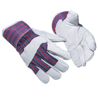 Adult Mens Portwest Canadian Rigger Cow Leather Cotton Gloves (A210)
