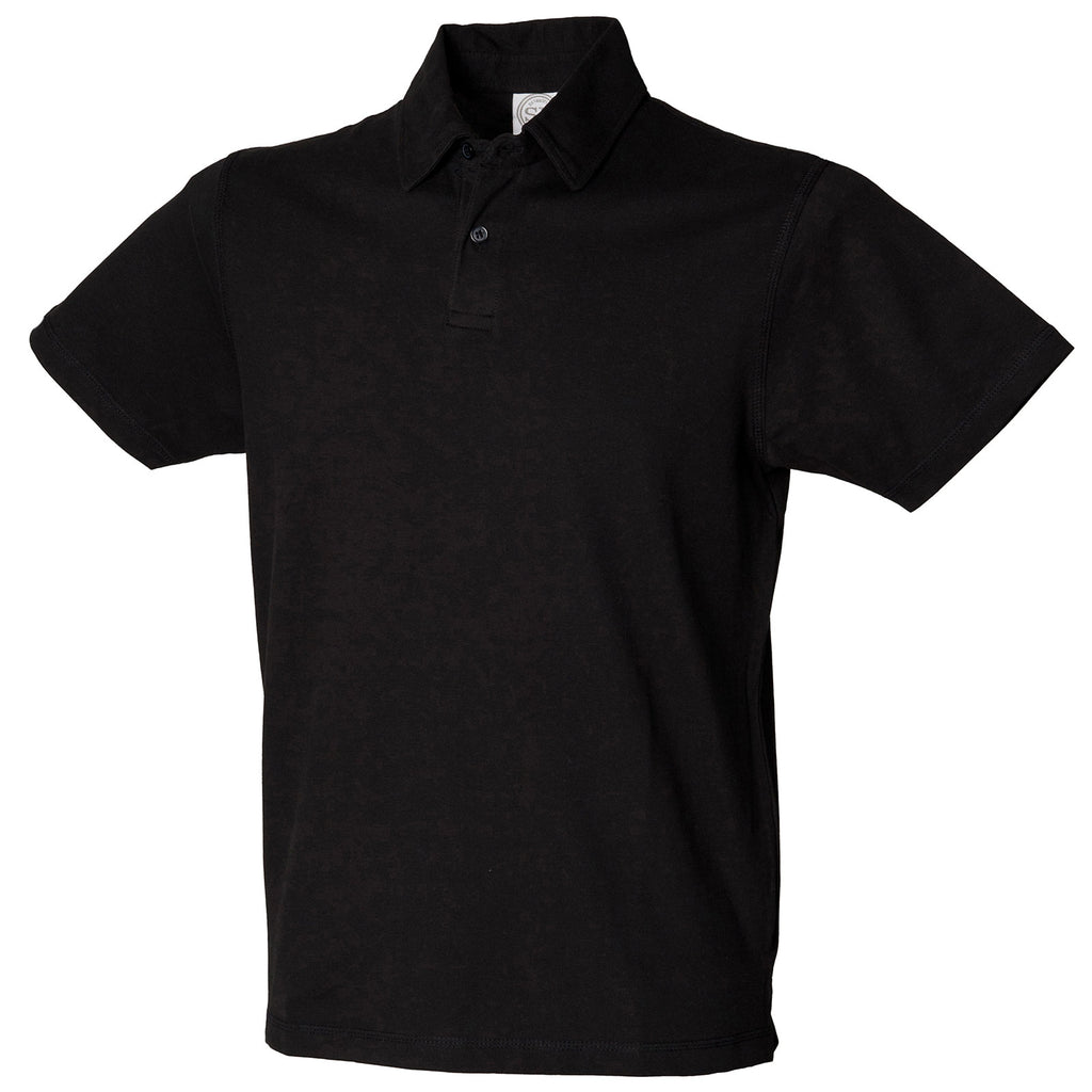 Mens SF Cotton Rich Short Sleeve Stretch Polo Neck Collar Shirt Top