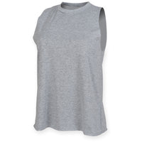 Ladies Women SF Cotton Rich High Neck Sleeveles Vest Top