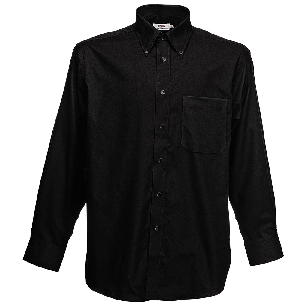 Mens Fruit of the Loom Cotton Rich Classic Oxford Long Sleeve Shirt Top