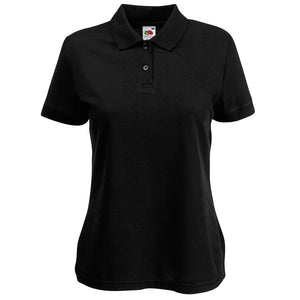 Ladies Women Fruit of the Loom Polyester Cotton Plain Polo Neck Collar Shirt Top