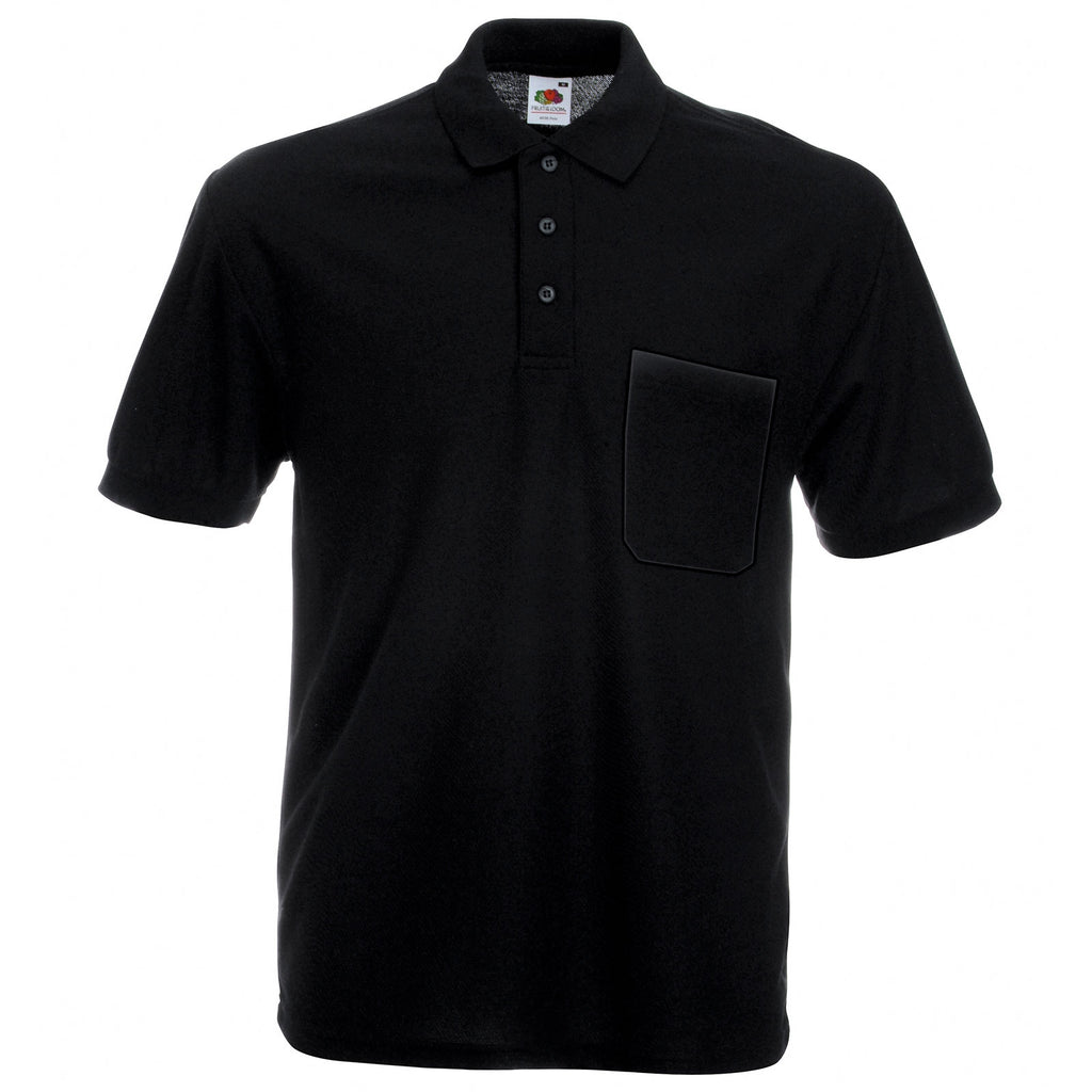 Mens Fruit of the Loom Polyester Pocket Polo Neck Collar Short Sleeve Shirt Top