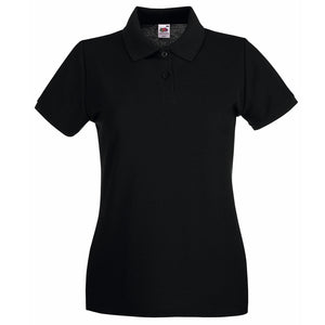 Ladies Women Fruit of the Loom Premium 100% Cotton Polo Neck Collar Shirt Top