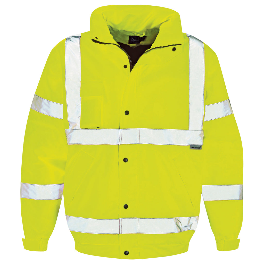 Mens Dickies Hi Visibility Bomber Jacket Waterproof with Thermal Lining Quilt