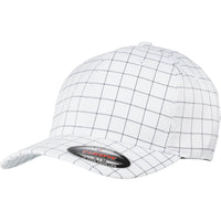 Adult Unisex Flexfit 6 Panel Square Check Baseball Cap Hat Curve Peak