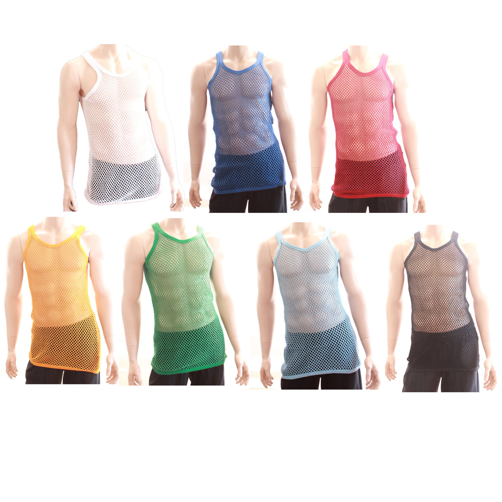 Mens 100% Cotton Fishnet Mesh Hole String Muscle Singlet Sleeveless Vest