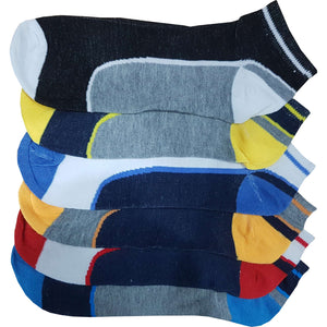 6 x Mens Design Pattern Trainer Ankle Liner Line Colour Socks