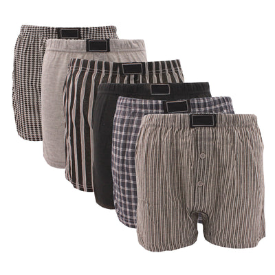 6 x Big Size Cotton Boxer Shorts with Button Fly Jersey