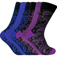 6 x Mens Paisley Pattern Design Soft Bamboo Rich Socks