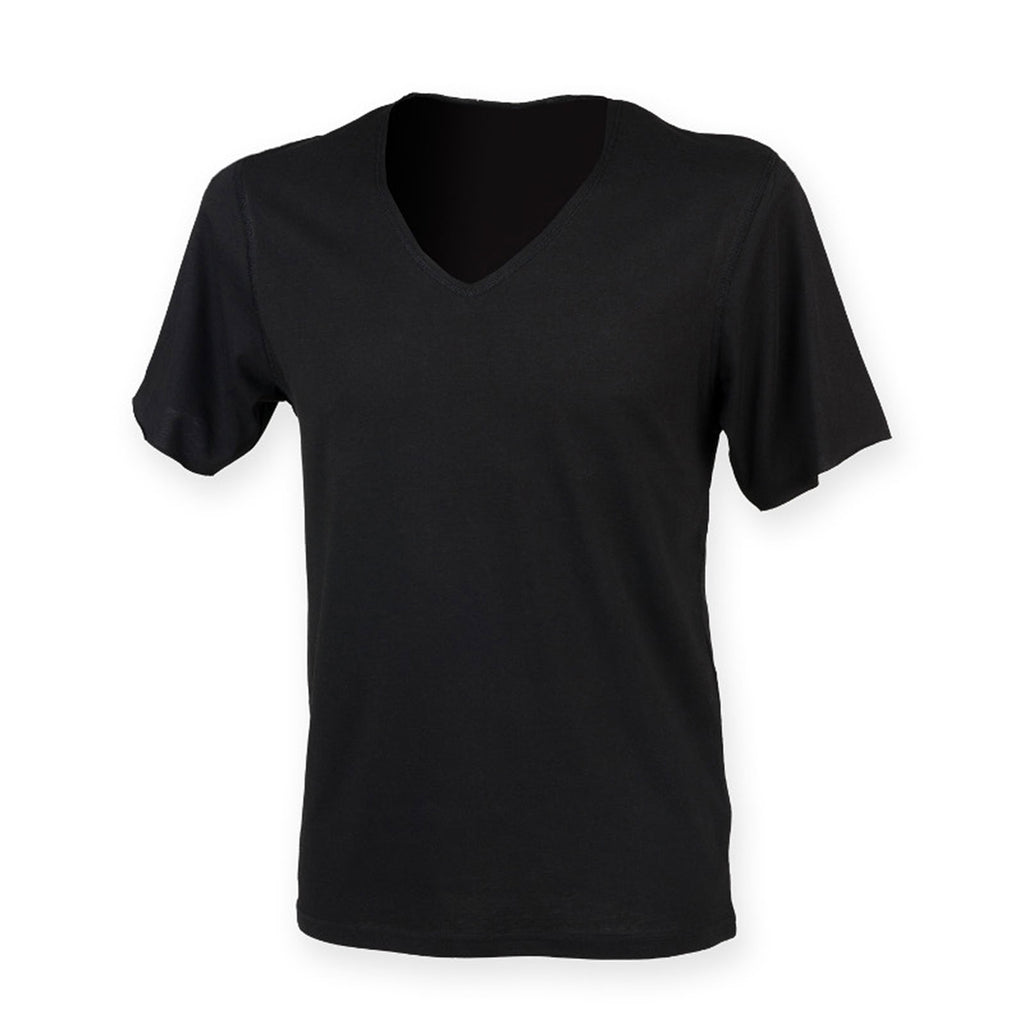 Mens SF 100% Cotton Single Jersey Wide V Neck T Shirt Top