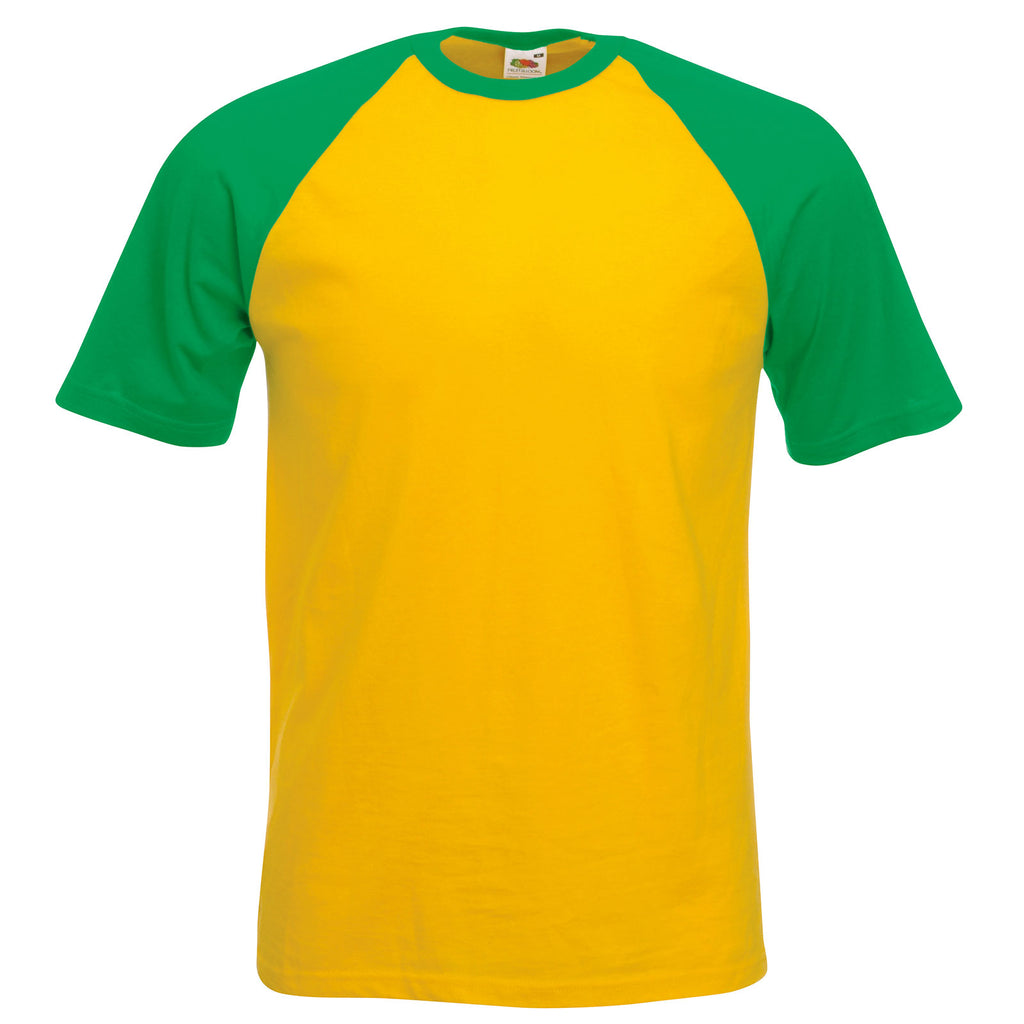 Mens Fruit of the Loom Short Sleeve Baseball Colour 100% Cotton T Shirt Top
