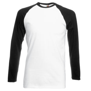 Mens Fruit of the Loom Long Sleeve 100% Cotton Baseball Knit T Shirt Top