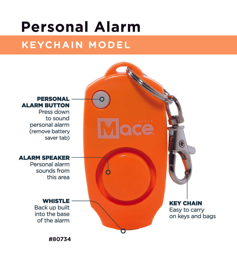 Personal Alarm Keychain - Orange
