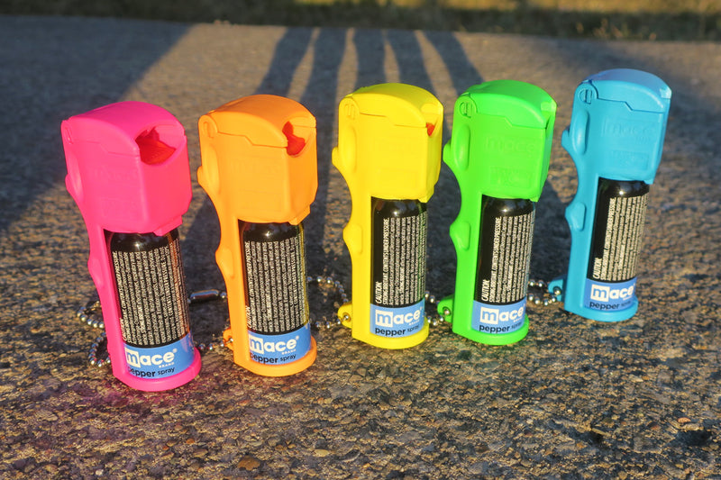 Neon Triple Action Pocket Pepper Sprays with Deluxe Keychain